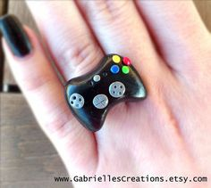 Mini Xbox 360 Controller Ring - Gamer Gift - Gamer Jewelry - Miniature Kawaii - Polymer Clay Black X Box - Cute Gamer Ring from G Creations on Wanelo
