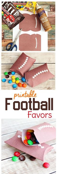 Game day coming up?Need football party food and decorations? Try these free printable pillow boxes with a pigskin texture. They make great little football treat bags for your party guests or serve as a way to divide out portions for your Super Bowl party Football Treat Bags, Football Party Favors, Football Treats, Football Parties, Football Cookies, Hockey Party, Football Banquet, Football Tailgate, Football Birthday