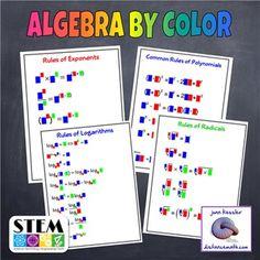 Algebra  Formulas by Color Posters - Graphic Organizer