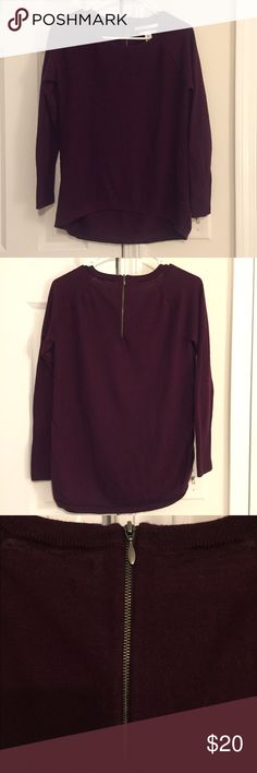 Maroon Sweater Max Studio maroon/cranberry colored long sleeved sweater. Size medium- true to size. Zipper on back. 100% extra fine merino wool, very soft! Max Studio Sweaters