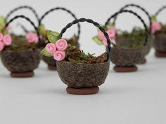 Miniature Acorn Cap Basket for fairy garden by TheLittleHedgerow, $6.50