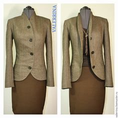 Купить Жакет стильный с асимметричной застежкой - коричневый, жакет женский, жакет ручной работы
