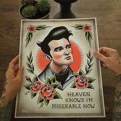 """New #Moz print now in the shop!#morrissey #mozangeles #thesmiths #tattoos #tattooflash #etsy"""