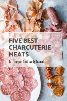 charcuterie board Learn all about the best charcuterie meats for your party platter! These five meats will pair well with almost any cheese and charcuterie board. Charcuterie Board Meats, Charcuterie Recipes, Charcuterie And Cheese Board, Cheese Boards, Charcuterie Spread, Meat Cheese Platters, Party Food Platters, Meat Platter, Cheese Platter Board