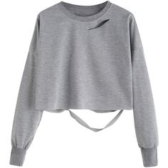 Light Grey Drop Shoulder Cut Out Crop T-shirt (23 BRL) ❤ liked on Polyvore featuring tops, shirts, sweaters, crop tops, grey, long-sleeve crop tops, long-sleeve shirt, long sleeve crop top, grey long sleeve shirt and long sleeve polyester shirts