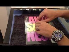 How to heat press and layer a 4 Color Neon Glitter Heat transfer vinyl design on a T Shirt - YouTube