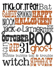 Lovely Little Snippets: Happy October! {Free Halloween Printable Subway art} Black and Orange Halloween Subway Art, Halloween Quotes, Halloween Signs, Halloween Boo, Halloween Cards, Holidays Halloween, Happy Halloween, Halloween Decorations, Halloween Costumes