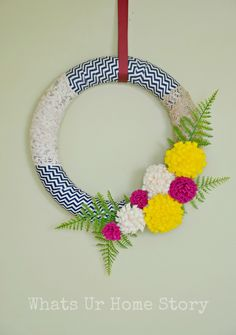 Love this Spring wreath for inside the front door. Felt Flowers & Fabric Scraps Spring Wreath - Whats Ur Home Story