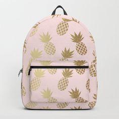 Pink & Gold Pineapples Backpack by tanyalegere Cute Backpacks For School, Cute Mini Backpacks, Cool Backpacks, Junior Backpacks, Pineapple Backpack, Cute Luggage, Mini Mochila, Unicorn Fashion, Gold Pineapple