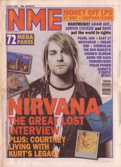 """New Musical Express April 1995 """"Nirvana: The Great Lost Interview, Plus Courtney Living with Kurt's Legacy"""" Poster Wall, Poster Prints, Rock Band Posters, Vintage Music Posters, New Wall, Wall Art Prints, Concert, Nirvana Art, Nirvana Lyrics"""