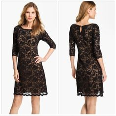 """Karen Kane Black Lace Dress Beautiful and incredibly comfortable dress in excellent condition (worn once for a holiday party). Nude colored lining, 3/4 sleeves, scalloped hem. Fabric is stretchy and forgiving throughout - would fit 4 or 6. Nylon/rayon/spandex. 37.5"""" long, 14"""" waist when flat, 16"""" bust when flat. *No trades / No PP / 15% off bundles* Karen Kane Dresses"""