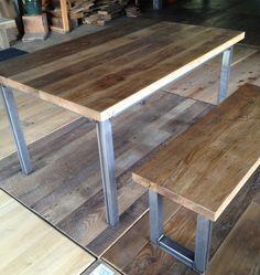 Reclaimed Oak Table & Bench Rustic Wood, Rustic Dining, Table, Rustic Dining Table, Furniture, Wood Furniture, Reclaimed Oak, Reclaimed Wood Furniture, Oak Table