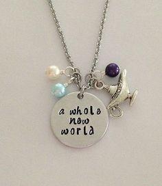 """Disney inspired Aladdin necklace """"a whole new world"""" Jasmine Genie hand stamped Disney Jewelry charm necklace"""