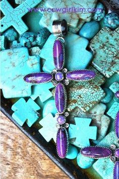 Jewelry :: Pendants :: BOLD AND BEAUTIFUL MAGENTA TURQUOISE CROSS PENDANT - Native American Jewelry|Ladies Western Wear|Double D Ranch|Ladie...