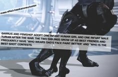 Garrus and Femshep adopt one infant human girl and one infant male turian after the war. The two siblings grow up as best friends and frequ...