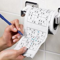 Sudoku Toilet Paper (http://www.beststuff.hu/Termekek/Sodoku-WC-papir#.VuuwTOLhCUk)