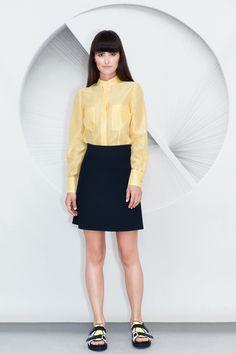 slightly over-sized Cotton Silk Blend Shirt with a vanishing pocket detail. Cut from lightweight yellow cotton silk blend fabric, it features a mandar. Waist Skirt, High Waisted Skirt, Pocket Detail, Cotton Silk, Chemistry, Yellow, Skirts, Fabric, Fashion