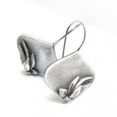 Ellette  Floral silver earrings Art Clay by kasiasobieszczyk, $77.00