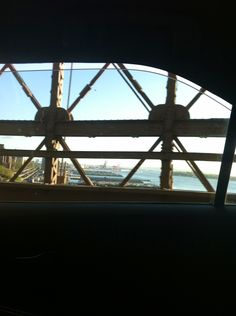 View from a car crossing the Brooklyn Bridge. (I wasn't driving, of course).