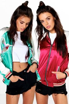 boohoo Boutiuqe Evie Reversible Embroidered Satin Bomber - $48.00