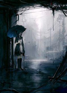 noche. chica solitaria, lluvia, sombrilla, barrio peligroso.                                                                                                                                                      Más