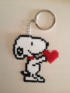 Snoopy keyring hama mini beads by Yolanda Pulido
