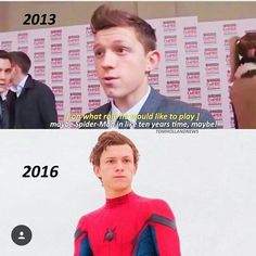 """"""" maybe Spiderman , in like ten years time, maybe """" 2013 , 2016 , Tom Holland , Spiderman"""