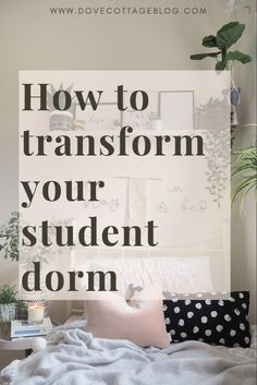 How to transform your student dorm room in college accommodation with soft furnishings, accessories, artificial plants and interiors. Clever storage ideas and ways to personalise a small and boring single rented bedroom. Using clever storage, cosy soft furnishings and houseplants you can create a beautiful home from home while you're away at college. #studentroom #collegedorm #collegeroom #dormdecor #dormroom #dormroomideas #dormroomdecoratingideas #dorm #universityroom #studentbedroom