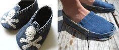 Ideas para reciclar jeans - Diy with Denim Jeans - Zapatos Diy Jeans, Refashion, Diy Room Decor, Ideas Para, Blue Jeans, Espadrilles, Slippers, Sewing, Fabric