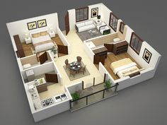Floor Plans on Behance 2bhk House Plan, Indian House Plans, Sims House Plans, Model House Plan, House Layout Plans, Family House Plans, House Layouts, 2 Bedroom House Design, Simple House Design