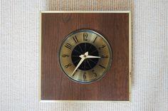 Seth Thomas Wall Clock, Mid Century Square Wood Brass Clock, Mid Century Modern Diamond Shape Clock