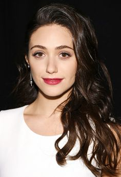 Emmy Rossum's raspberry lipstick contrasts nicely with her darker hair // #Lips #Hair
