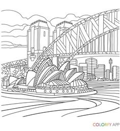 Sydney Opera House and Harbour Bridge coloring page