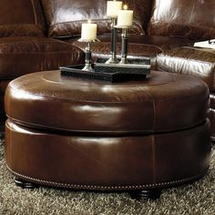 Traditional Round Tail Ottoman With Paisley Embossed Leather And Nailhead Trim