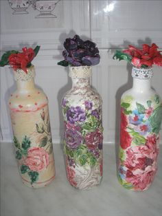 #decoupage #altered #bottles & flowers from plastic bottle #Stella #ντεκουπάζ