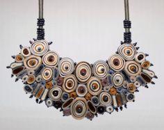 Textile necklace grey statement necklace bib от AudraTextileStudio