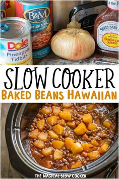 Slow Cooker Baked Beans Hawaiian are flavored with ham and pineapple! - The Magical Slow Cooker Slow Cooker Baked Beans, Crock Pot Slow Cooker, Slow Cooker Recipes, Crockpot Recipes, Cooking Recipes, Healthy Recipes, Hawaiian Baked Beans, The Magical Slow Cooker, Baked Bean Recipes