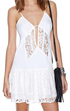 e648badb9fa7 Nasty Gal White Lace Above Knee Night Out Dress Size 2 (XS) 56% off retail