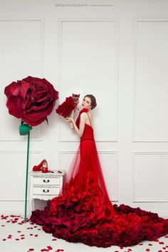 Fashion Photography, L♡VE this and the pooch. L♡VE roses are RED♡♡♡