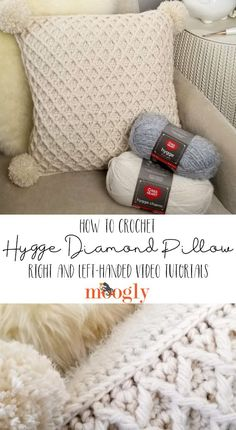 The Hygge Diamond Pillow Tutorial demonstrates how to crochet this reversible cushion that's full of gorgeous texture - on Moogly, in both right and left-handed videos! Add gorgeous handmade texture to your space - we'll walk you through it! ♥ Featuring R Crochet Pillow Pattern, Crochet Cushions, Crochet Stitches, Crochet Patterns, Crochet Pillow Cases, Serger Patterns, Crochet Cushion Cover, Scarf Patterns, Knit Pillow