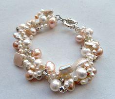 Elegant pearl bracelet - white and pink - peach $62