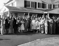 Hyannis Port June 10 1955. Senator JFK and Jackie with Mass legislators