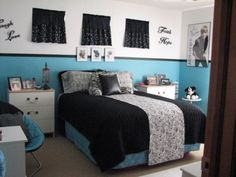Teenage Girls Room, Bedroom for teenage girl, black and white with a splash of turquoise. Many different black and white prints in zebra, floral and polka dots., Girls Rooms Design