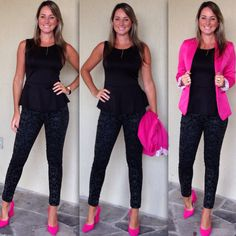 Look de trabalho - Look do dia - pink and black - scarpin pink - preto e rosa Pink Heels Outfit, Pink Blazer Outfits, Heels Outfits, Fashion Outfits, Classy Outfits For Women, Pretty Outfits, Cool Outfits, Casual Outfits, Clothes For Women