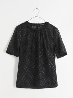 Madewell shirred top in shimmer dot.