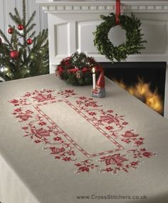 Christmas Tablecloth Embroidery Kit - Idéna Collection by Anchor - not cross stitched but we're loving this handmade tablecloth idea!