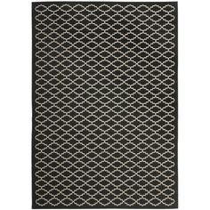 Accentuate your patio, deck, balcony or pool area with this outdoor poolside rug, which features a pure black background and a repeating white pattern. The easy-to-maintain floor piece is resistant to weathering elements and can also be used indoors.