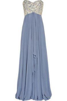 Marchesa Embellished Silk Chiffon Strapless Gown