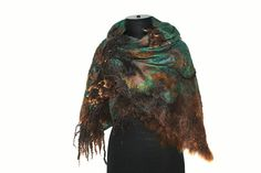 Felted Scarf   50/50 Extrafine Australian merino wool / mulberry silk, raw wool locks, baby alpaca fiber, silk fiber, wool hand spun yarn.