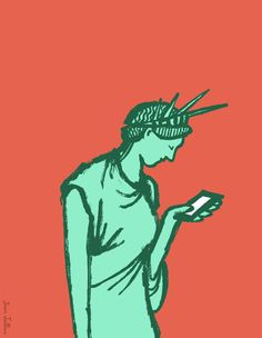 This image satirizes America as a whole. It argues that all Americans are obsessed with their phones. Type: Horatian- The image does not produce anger. It is gentle ridicule.